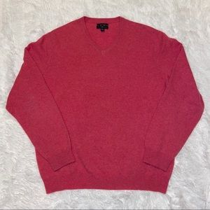 Club Room Mens Pink V Neck 2 Ply Cashmere Pullover